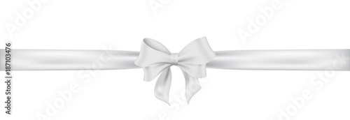 Photo Weiß Schleife. White satin ribbon and bow vector illustration.