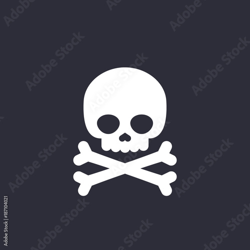 Fotografía  danger icon skull and bones vector sign