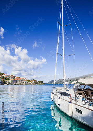 Sailing boat in a beautiful bay, Dalmatia, Croatia