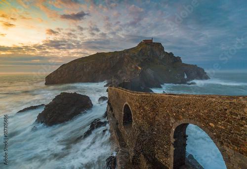 A sunset on the Basque coast, San Juan de Gaztelugatxe, Spain Poster