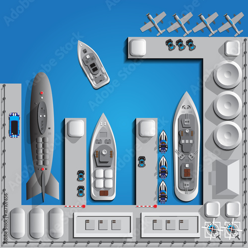 Cuadros en Lienzo Military seaport. View from above. Vector illustration.