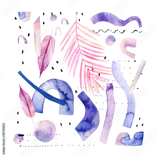 Poster Aquarel Natuur Abstract watercolor background with tropical and geometrical elements