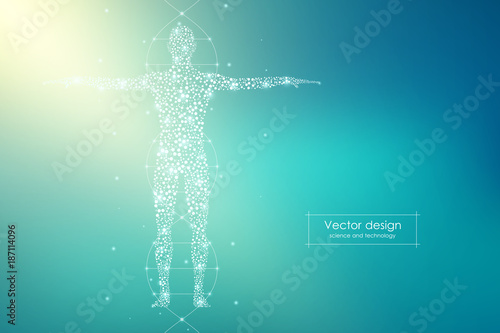 Abstract human body with molecules DNA Canvas Print