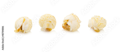 close-up popcorn isolated on a white background