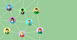 Network concept with diverse people connecting to each other. Abstract business and social networking banner background.