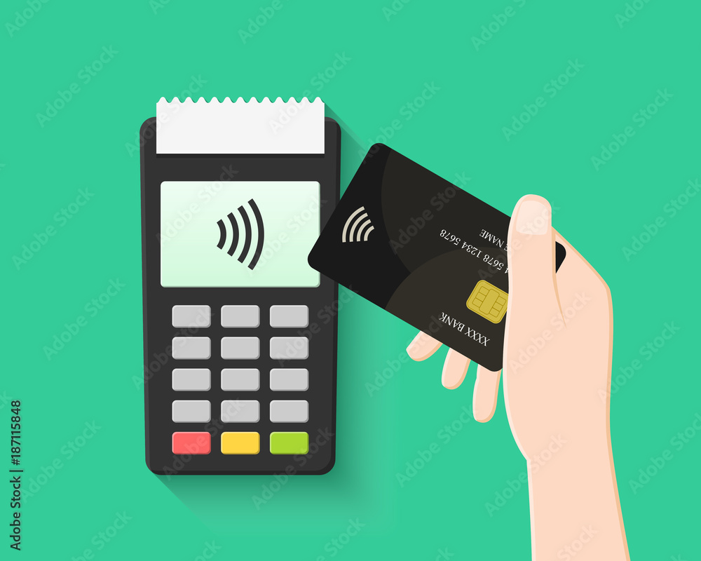 Fototapeta Hand paying with contactless and wireless card in flat design. POS terminal and transaction with NFC technology.