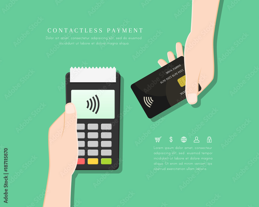 Fototapeta Contactless payment with POS terminal and hand holding card in flat design. Wireless and mobile transaction with NFC technology.