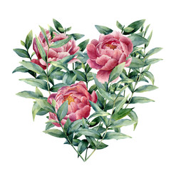 Panel Szklany Do sypialni Watercolor floral heart with peony and eucalyptus. Hand painted eucalyptus branches with leaves, flowers isolated on white background. Valentine's Day illustration.