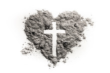 Cross Or Crucifix In Heart Symbol Made Of Ash