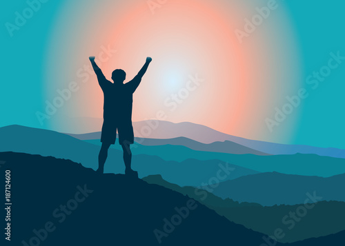 Fototapeta Man with hands upstanding  on the top of mountain. Vector illustration. Blue Ridge Mountains, North Carolina, USA. obraz na płótnie