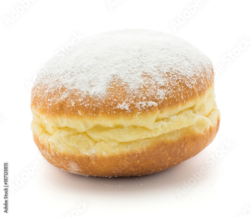 Foto Traditional doughnut (Sufganiyah) isolated on white background one fresh baked with powered sugar and without hole