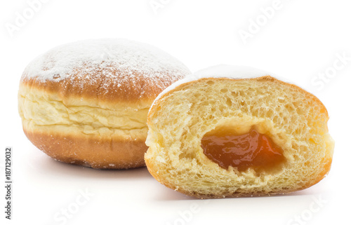 Foto Traditional doughnut (Sufganiyah) and one half with apricot jam isolated on white background fresh baked with powered sugar and without hole