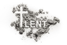 Word Lent And Christian Cross Symbol Drawing