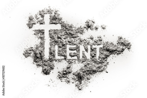 Word lent and christian cross symbol drawing Wallpaper Mural