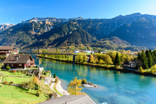 Beatiful River At Interlaken Switzerland In Sunny Day During Autumn.