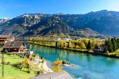 Fotografie, Obraz  Beatiful river at Interlaken Switzerland in sunny day during autumn