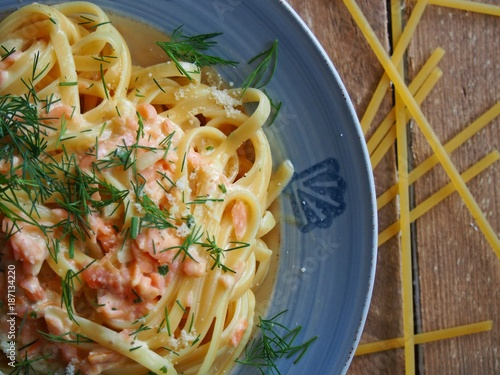 Fototapeta Italian healthy food pasta with salomon obraz