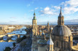 Panoramic view of Zaragoza and bridges on Ebro River from the Cathedral-Basilica of Our Lady of the Pillar, Spain.