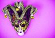 canvas print picture - Mardi Gras Festival. Luxurious masquerade Venetian carnival mask on purple background