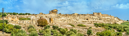 Foto op Canvas Oude gebouw Panorama of Dougga, an ancient Roman town in Tunisia