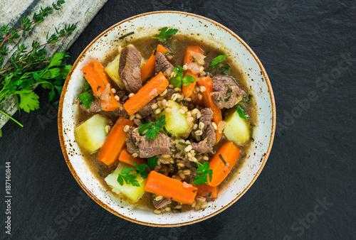 Traditional Irish stew - top view