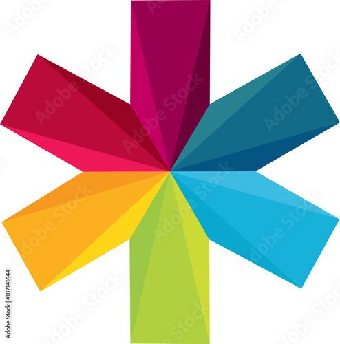 Icône colorée d'une croix d'ambulance pour la santé des enfants et adultes