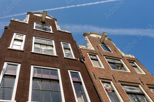 The facade of two historical Dutch houses in Amsterdam. Wallpaper Mural