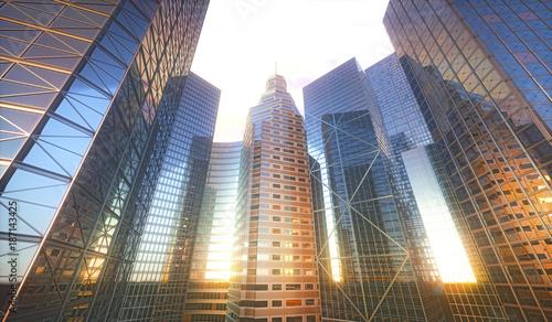 Skyscrapers in city, illustration