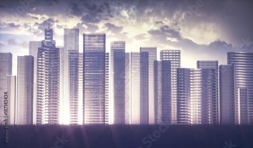 Illustration of modern city skyline