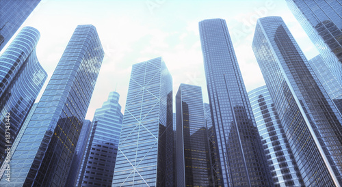 Low angle view of skyscrapers in city, illustration