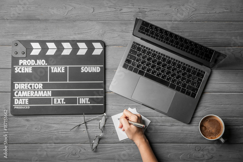 Fototapeta  Female scriptwriter working at table, top view