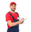 Handsome auto mechanic with clipboard on white background