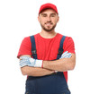 Handsome auto mechanic on white background