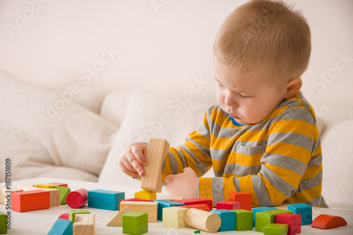 Cute Little Toddler Boy Playing With Colorful Wooden Bricks On The