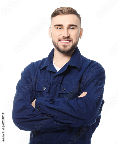Pinturas sobre lienzo  Handsome auto mechanic on white background