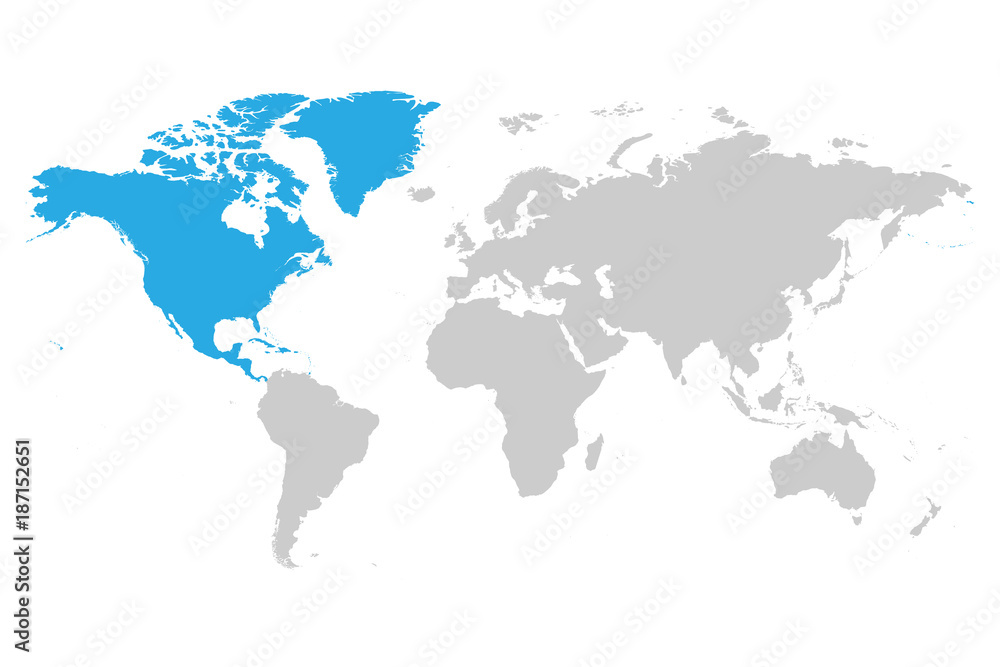 North America continent blue marked in grey silhouette of ...