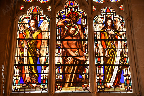 Vitraux de l'église Saint-Germain-L'Auxerrois à Paris, France Poster