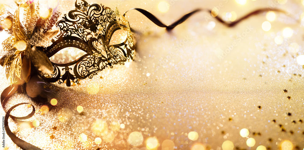 Fototapety, obrazy: Venetian Golden Mask On Shiny Defocused Background