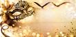 canvas print picture - Venetian Golden Mask On Shiny Defocused Background