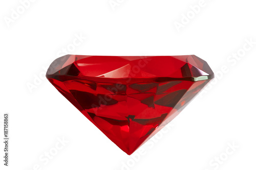 Jewelry and gemstones concept with close up on a red ruby gemstone isolated on a white background with clipping path