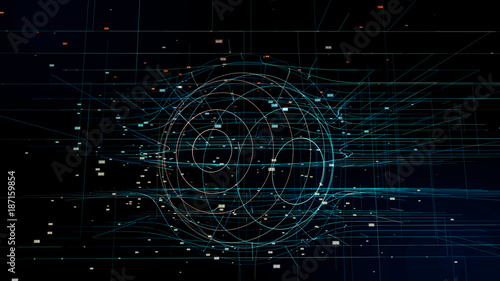 Fotografie, Obraz  Global network concept. Abstract computer graphics.