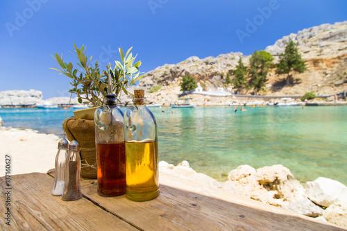 Dinner in greece restaurant terace