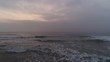Foggy morning over the beach. Dramatic sea sunrise. Video.