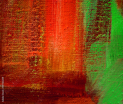 red green abstract oil painting on canvas, illustration