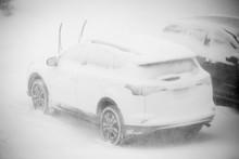 Car Stuck In Snow Sorm