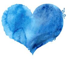 Watercolor Blue Heart. Vector ...