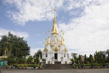 White And Golden Chedi Of Wat Tham Khuha Sawan Temple Amphoe Khong Chiam, Ubon Ratchathani, Thailand