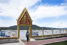 People Looking And Visit Viewpoint Of Confluence Of The Mekong River And The Mun River At Wat Khong Chiam In Ubon Ratchathani, Thailand