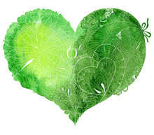 Sketchy Doodle Green Heart Illustration