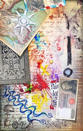 Poster Imagination Murale con graffiti,collage,vecchie mappe,disegni,carte da gioco,francobolli e banconote antiche